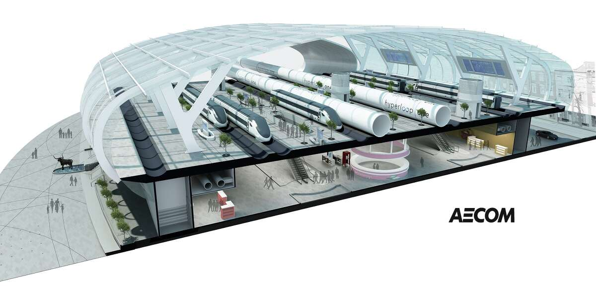 A rendering of a proposed Hyperloop Texas station, by AECOM.