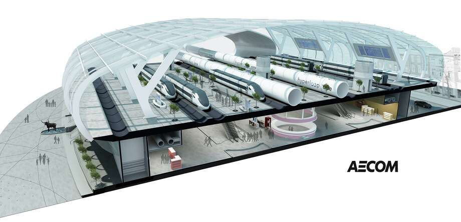 A rendering of a proposed Hyperloop Texas station, by AECOM. Photo: Rendering Courtesy AECOM