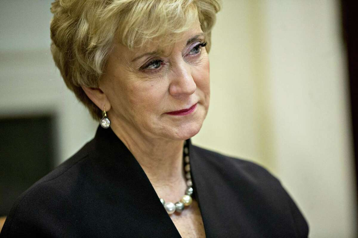 Linda McMahon, administrator of the Small Business Administration (SBA), listens while meeting with women small business owners with U.S. President Donald Trump, not pictured, in the Roosevelt Room of the White House on March 27, 2017 in Washington, D.C.