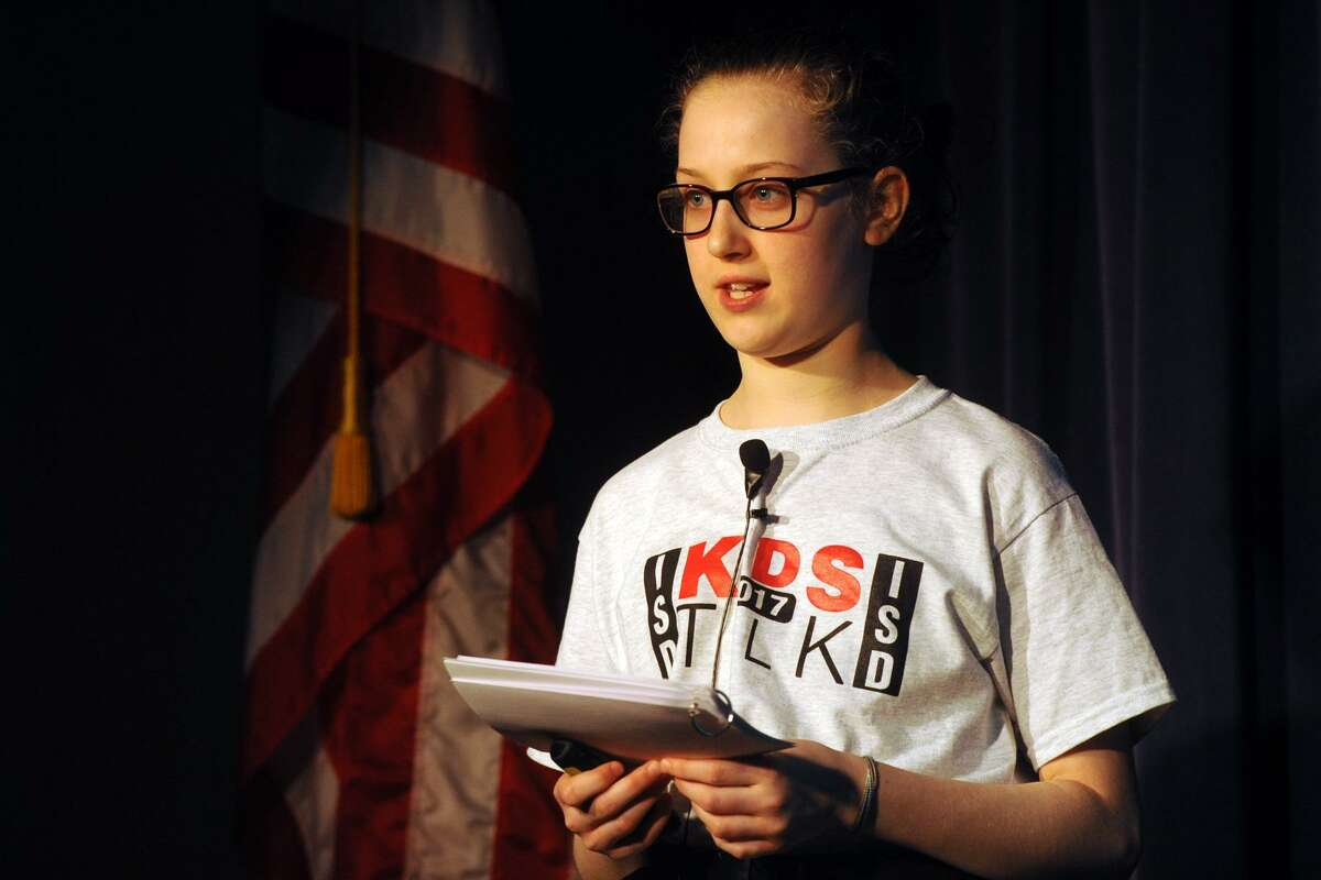 Fifth-grader Leah Woods takes part in a presentation by students during Kids Talk 2017 at International School at Dundee, in Greenwich, Conn. April 4, 2017.