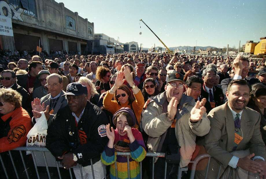 Dec. 11, 1997: Groundbreaking at Pac Bell Park, the new Giants ballpark in China Basin. Fans line up to watch. Photo: Chris Stewart, The Chronicle