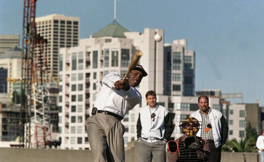 Dec. 11, 1997: Groundbreaking at Pac Bell Park, the new Giants ballpark in China Basin. Barry Bonds hits balls into McCovey Cove. Photo: Chris Stewart, The Chronicle