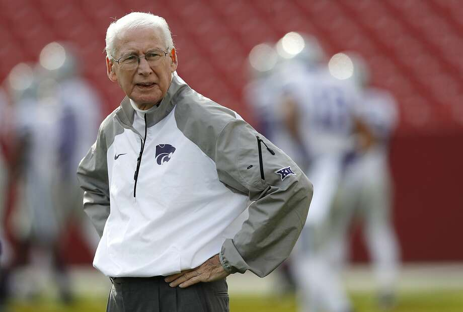 FILE - In this Oct. 29, 2016, file photo, Kansas State head coach Bill Snyder stands on the field before an NCAA college football game against Iowa State, in Ames, Iowa. Snyder has gone through spring practices dozens of times, including nearly 30 of them as head coach at Kansas State. What he's never done is try to juggle preparing a team expected to contend for a Big 12 title with treatments for throat cancer.  (AP Photo/Charlie Neibergall, File) Photo: Charlie Neibergall, Associated Press