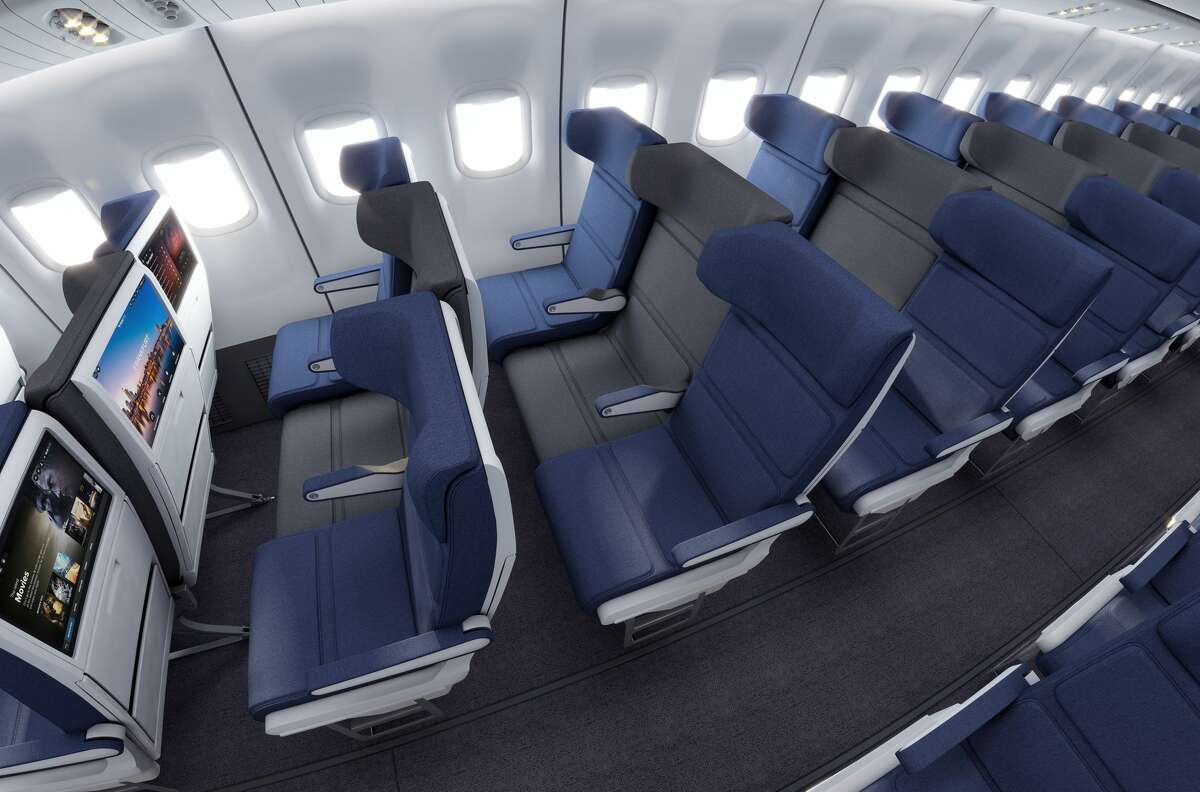 Photos provided by Molon Labe Seating show the design of the company's proposed new middle seat.
