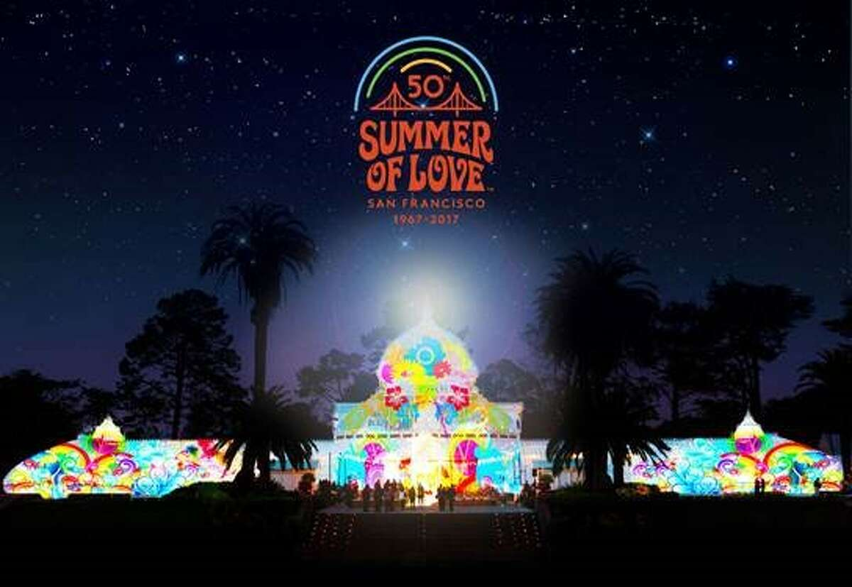 A rendering of what the Conservatory of Flowers in San Francisco's Golden Gate Park might look like during a Summer of Love light display.
