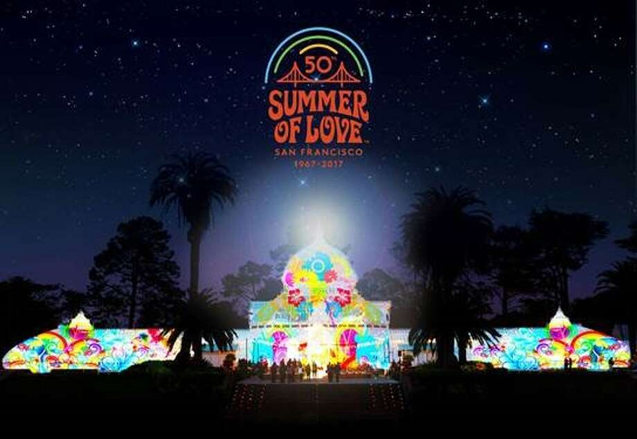 A rendering of what the Conservatory of Flowers in San Francisco's Golden Gate Park might look like during a Summer of Love light display. Photo: Illuminate