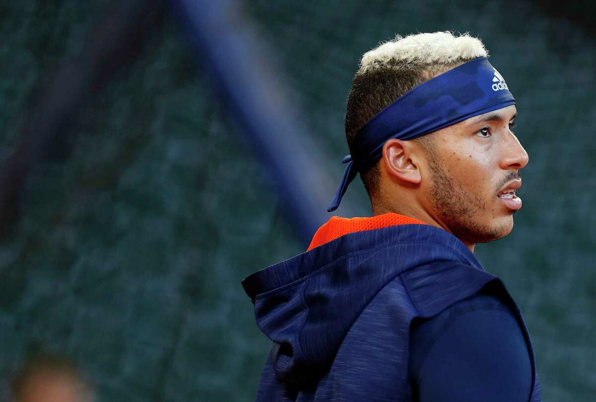 Houston Astros shortstop Carlos Correa (1) during batting practice before the start of an MLB baseball game at Minute Maid Park, Tuesday, April 4, 2017, in Houston.