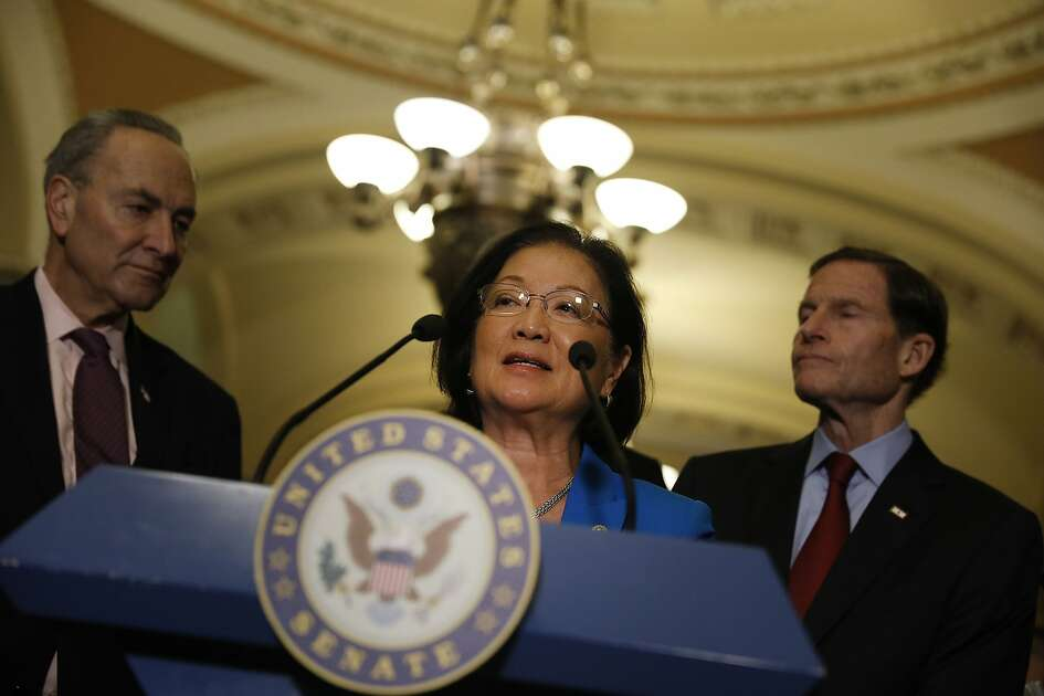 Senator Mazie Hirono, a Democrat from Hawaii, speaks during a news conference after a Senate Democratic luncheon at the U.S. Capitol in Washington, D.C., U.S., on Tuesday, April 4, 2017. Democrats are threatening to block Neil Gorsuch's nomination to the Supreme Court. Republicans say they have the votes to change the Senate's longstanding rules and push President Donald Trump's nominee through. Photographer: Aaron P. Bernstein/Bloomberg