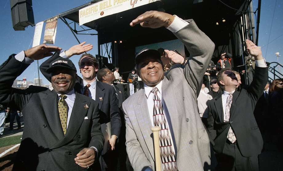 Dec. 11, 1997: Groundbreaking at Pac Bell Park, the new Giants ballpark in China Basin. Willie Brown, Larry Baer and Willie Mays shade their eyes from the sun. Photo: Brant Ward, The Chronicle
