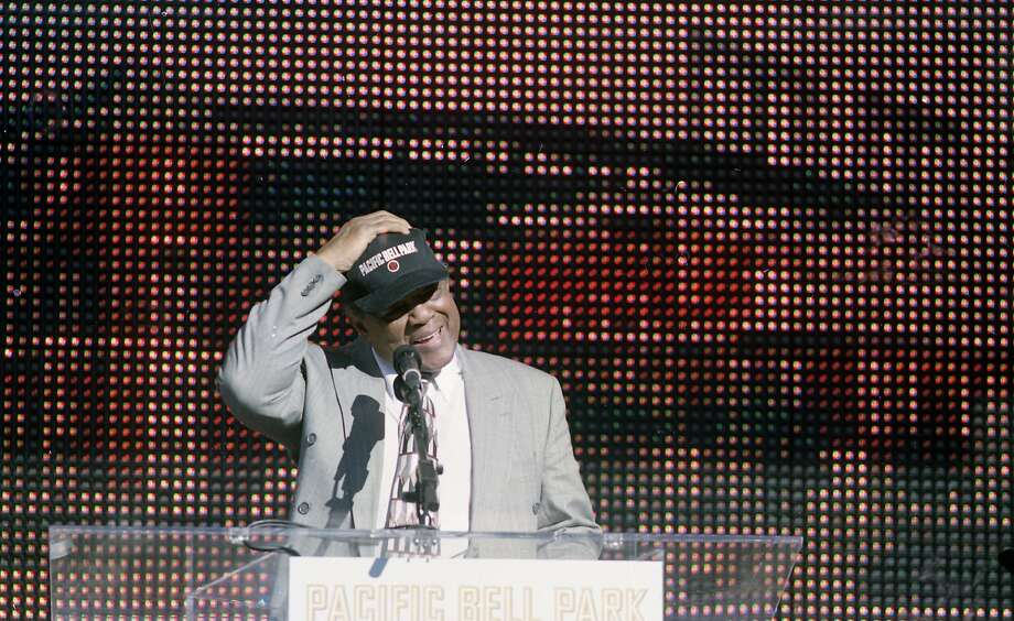 Groundbreaking at Pac Bell Park, the new Giants ballpark in China Basin, on Dec. 11, 1997. Willie Mays tears up after learning the street in front of the park will be named Willie Mays Plaza. Photo: Brant Ward, The Chronicle