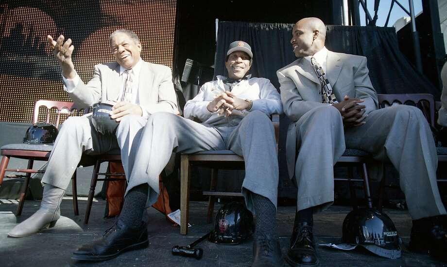 Groundbreaking at Pac Bell Park, the new Giants ballpark in China Basin. Willie Mays, Willie McCovey and Barry Bonds sit down and chat on Dec. 11, 1997. Photo: Brant Ward, The Chronicle