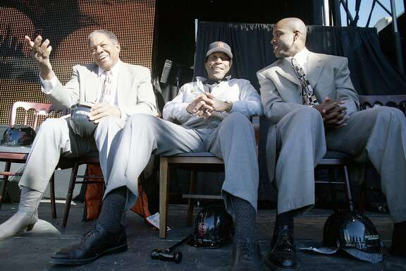 Dec. 11, 1997: Groundbreaking at Pac Bell Park, the new Giants ballpark in China Basin. Willie Mays, Willie McCovey and Barry Bonds sit down and chat.