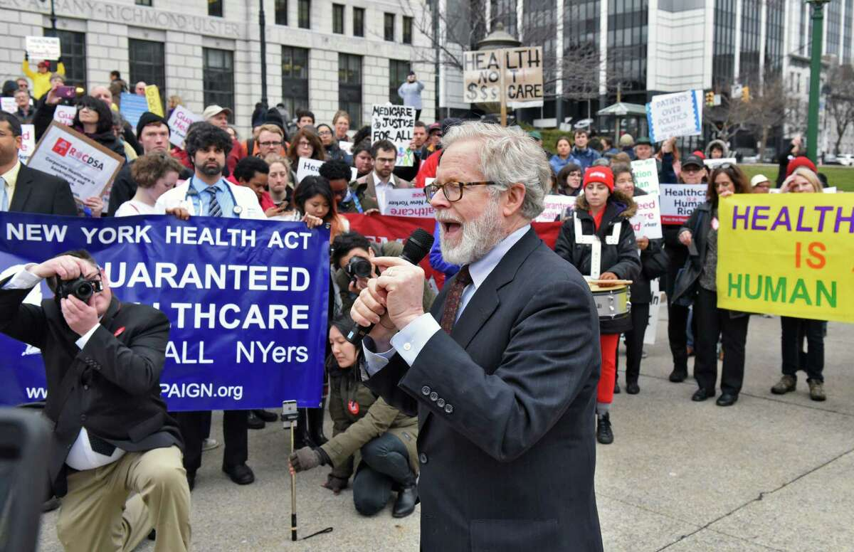 Assemblyman Richard Gottfried, center, speaks at a NY Health Act Lobby Day rally outside the Capitol Tuesday April 4, 2017 in Albany, NY. (John Carl D'Annibale / Times Union)