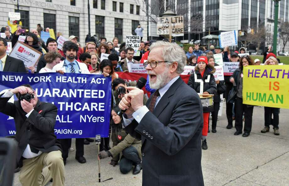Assemblyman Richard Gottfried, center, speaks at a NY Health Act Lobby Day rally outside the Capitol Tuesday April 4, 2017 in Albany, NY.    (John Carl D'Annibale / Times Union) Photo: John Carl D'Annibale / 20040144A