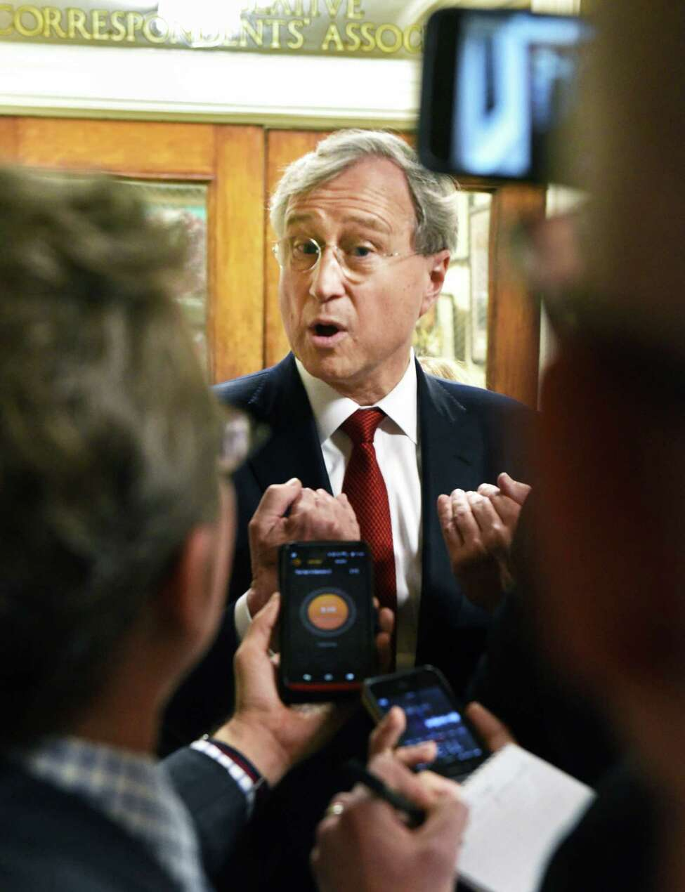 State GOP Chair Ed Cox speaks with reporters at the Capitol Tuesday April 4, 2017 in Albany, NY. (John Carl D'Annibale / Times Union)