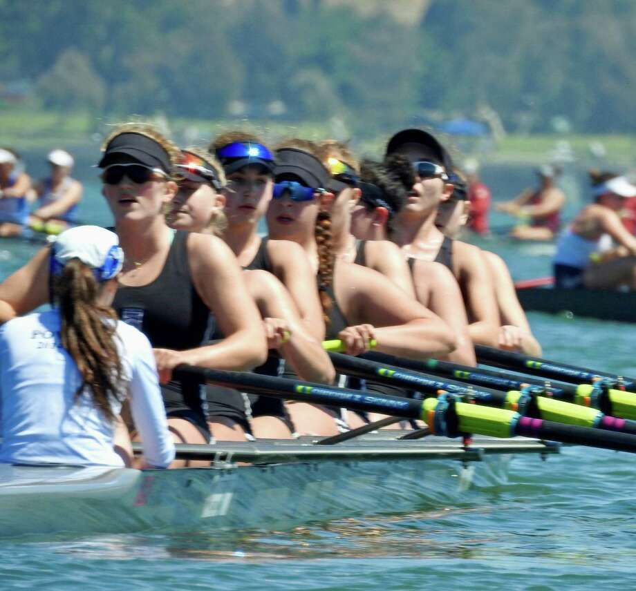 The Saugatuck Rowing Club junior girls varsity 8+ three-peated as victors in the San Diego Crew Classic on Sunday. The crew is coached by Gordon Getsinger, SRC junior girls head coach. Photo: Contributed / Westport News Contributed