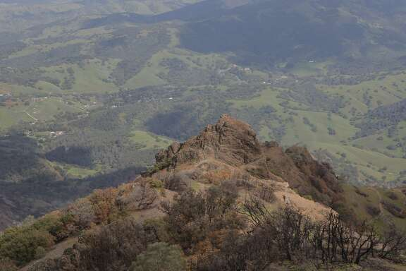 The Mary Bowerman Trail rings the summit of Mount Diablo and leads to an overlook of the Devil's Pulpit and beyond into the Livermore Valley
