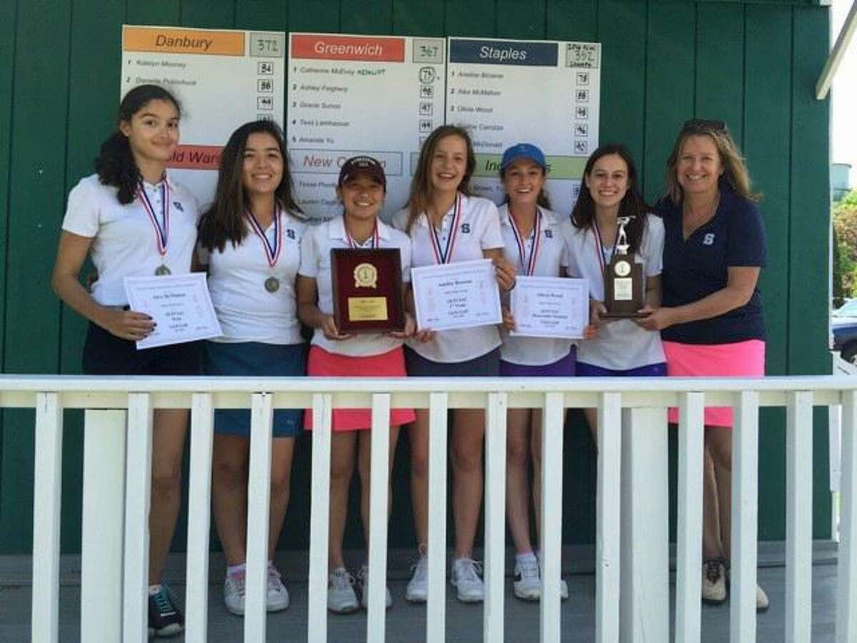 Staples celebrates its FCIAC girls golf championship last June in Fairfield. The Wreckers return most of that core this spring.