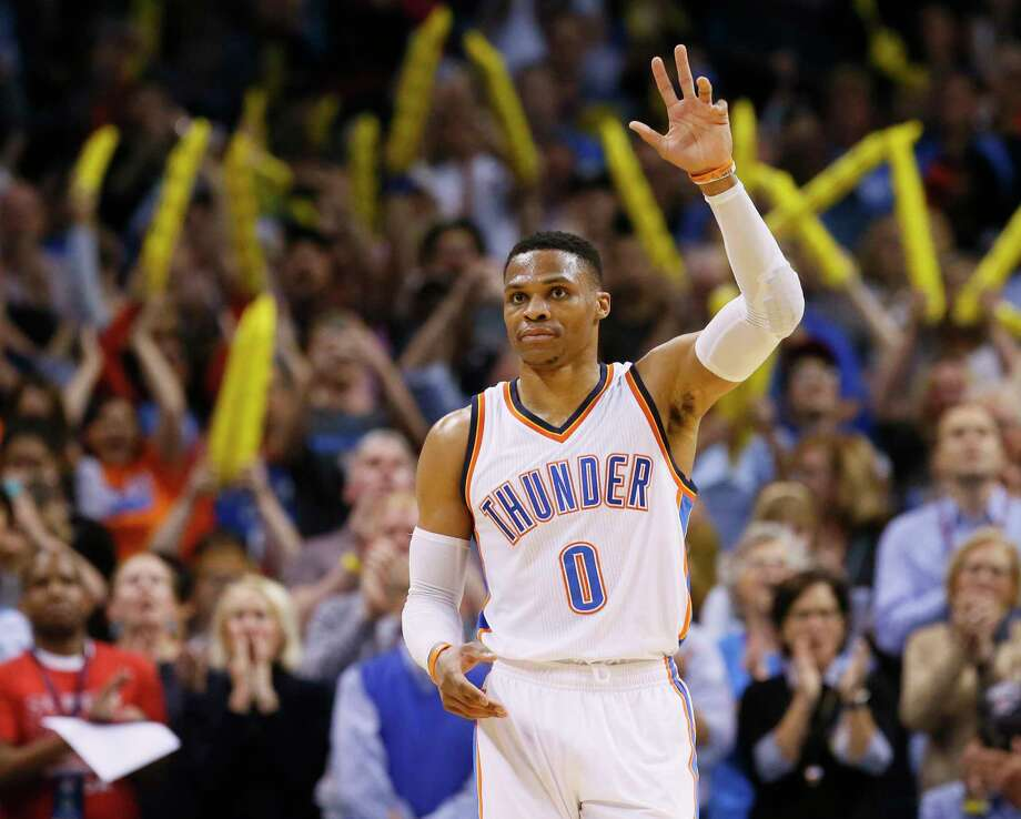 The Oklahoma City fans were appreciative of Russell Westbrook's latest performance. Photo: Sue Ogrocki, STF / AP2017