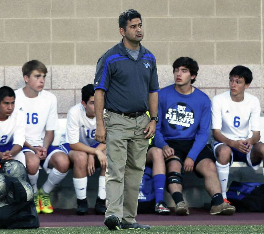 Jay coach David Johnson  watche sfrom the sideline as Jay plays Clark in Class 6A third-round boys soccer playoffs at Farris Stadium on April 4, 2017. Photo: Tom Reel, Staff / San Antonio Express-News / 2017 SAN ANTONIO EXPRESS-NEWS
