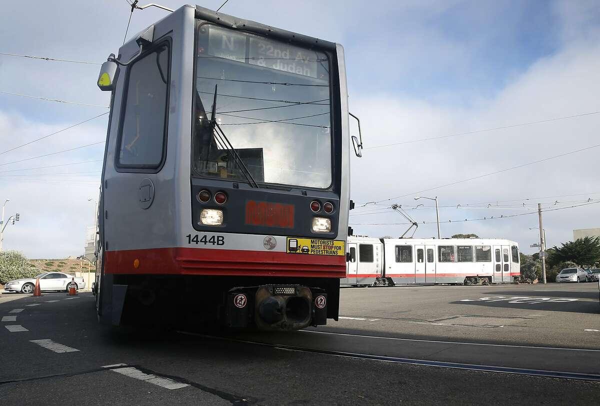 A Muni N-Judah streetcar turns around at La Playa Street for a return trip downtown in San Francisco.