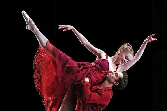 Sasha DeSola and Vitor Luiz perform Helgi Tomasson's Trio during SF Ballet's dress rehearsal in San Francisco, Calif., on Tuesday, April 4, 2017.
