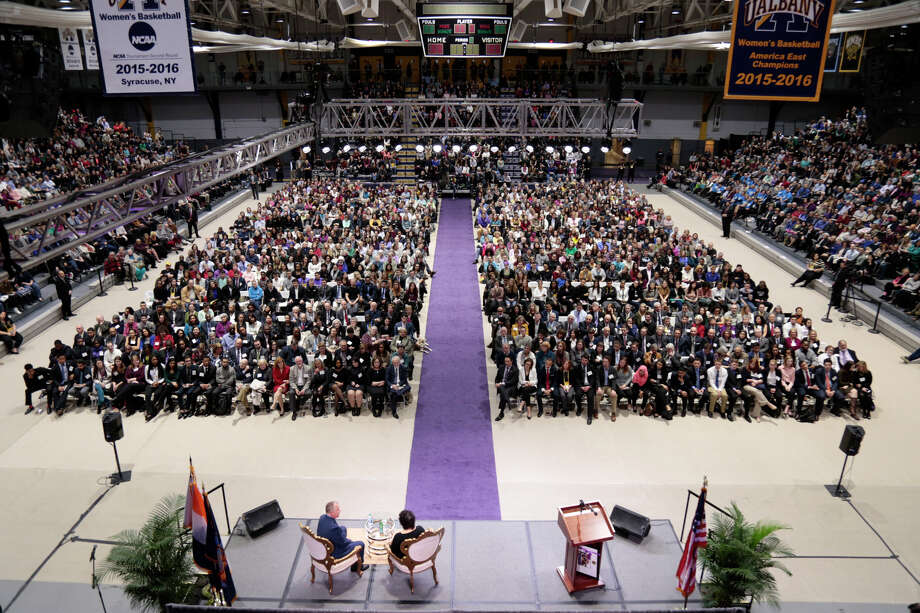 (Carlo de Jesus/University at Albany) Supreme Court Justice Sonia Sotomayor is poised to t Justice Sonia Sotomayor is poised to address the crowd Thursday night at the University at Albany Speakers Series in the SEFCU Arena on campus. Sotomayor, the first Hispanic judge on the Supreme Court, is the author of ?My Beloved World,? her 2013 memoir of her childhood, education and life through 1992. President Barack Obama appointed her to the high court in 2009.