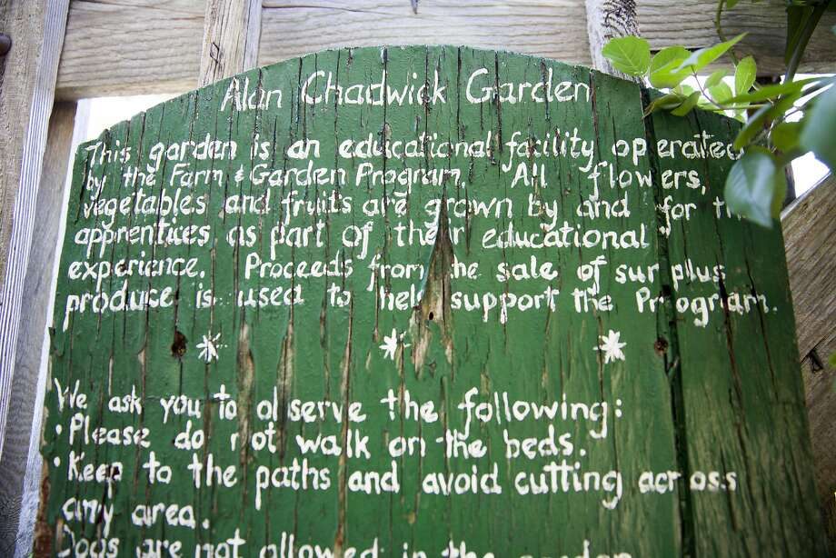A sign welcomes visitors to the Alan Chadwick Garden at UC Santa Cruz. Photo: Peter DaSilva