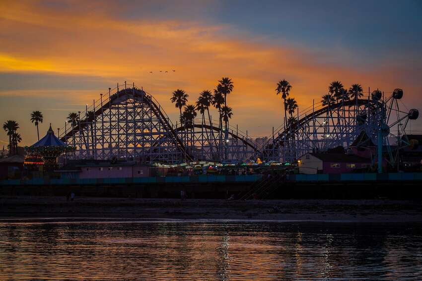 The Giant Dipper roller coaster at sunset.