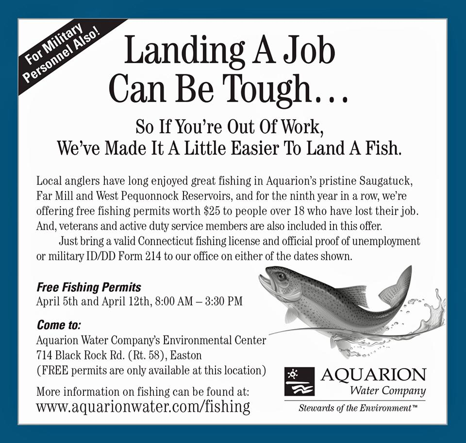 Aquarion offering free fishing permits for vets for Fishing license ct