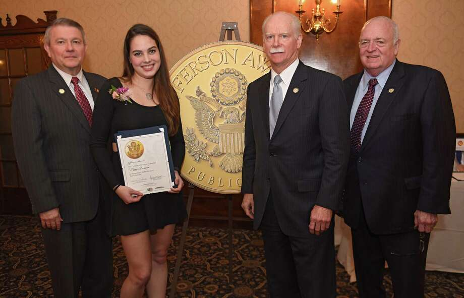From left, Stephen Baboulis, vice president and general manager, WNYT/WNYA, Jefferson Award finalist Erin Berube, George R. Hearst III, publisher and CEO, Times Union, and Elmer Streeter, director of corporate communications, St. Peter's Health Partners, during a dinner and program to honor the Jefferson medalists and finalists at the Century House on Tuesday, April 4, 2017 in Latham, N.Y. (Lori Van Buren / Times Union) Photo: Lori Van Buren / 20040138A