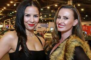 Erica Renee Garza, left, and Lacee Young at the Houston Auto Show VIP preview party.   (For the Chronicle/Gary Fountain, April 4, 2017)