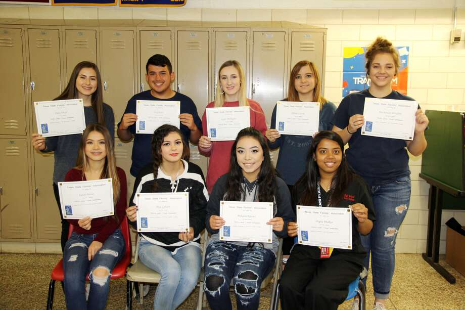 Plainview High School students Sarah Porras (seated left), Mya Gibson, Mikaela Raissez, Megha Bhakta, Paris Floyd (standing left), Trey Perez, Katie Mahagan, Allison Carson, Mackenzie Winders and Taryn Garza (not shown) completed testing and have received a Level 1 Floral Certification from the Texas State Florists' Association. The students are enrolled in Principles and Elements of Floral Design, a PHS Career and Technical Education course.