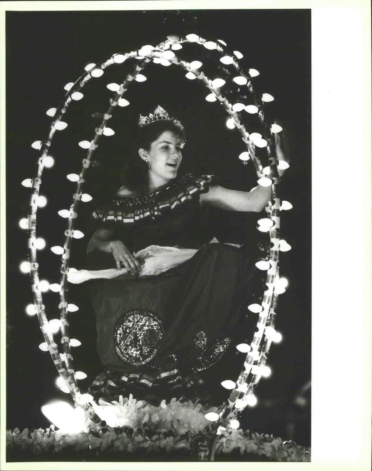 San Antonio Flambeau Rey Feo Parade, Cece Rodriguez on float, on Broadway