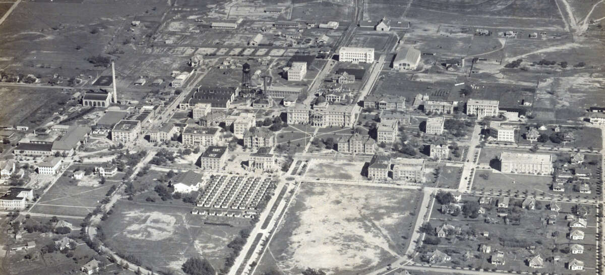 CIRCA 1925: An aerial of College Station and the Texas A&M area.