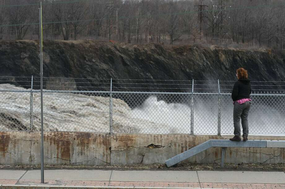The water a raging at Cohoes Falls on Wednesday as the region braced for the possibility that rain on Thursday could make Wednesday's modest flooding severe. Photo: Will Waldron / Times Union