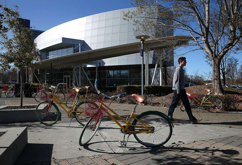 Google bicycles are seen parked outside of Google headquarter.) Photo: Justin Sullivan, Getty Images