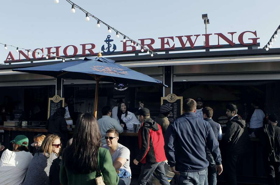The Anchor Brewing beer garden at Mission Rock offers an outdoor beer garden with several eating options near McCovey Cove. Photo: Sophia Germer, The Chronicle