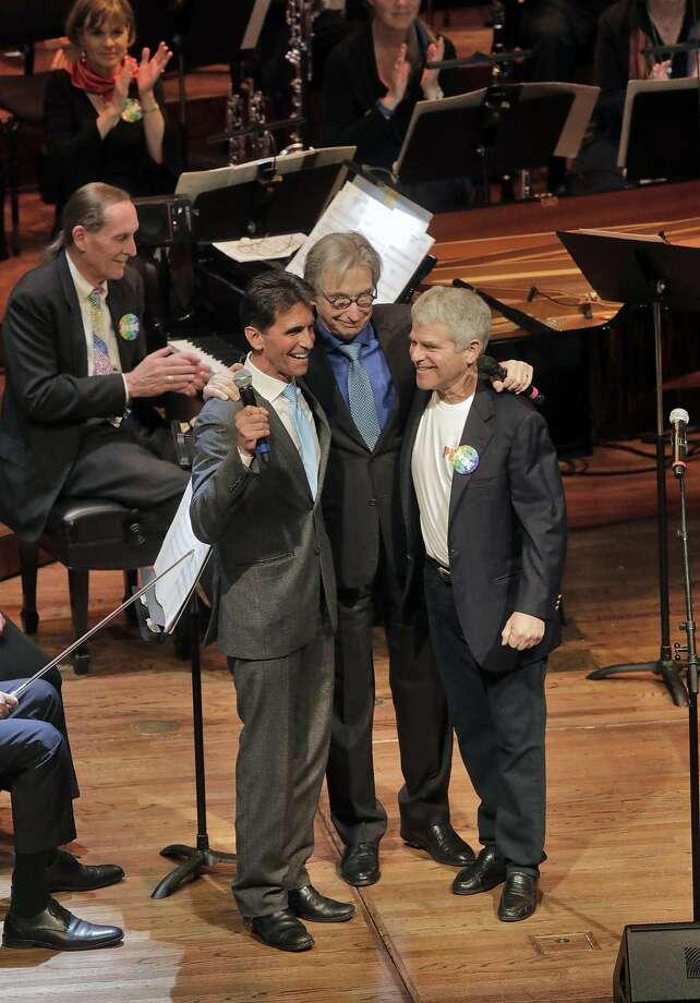 Mark Leno, Michael Tilson Thomas and Joshua Robison on-stage at Symphony Pride Photo: Corey Weaver, San Francisco Symphony