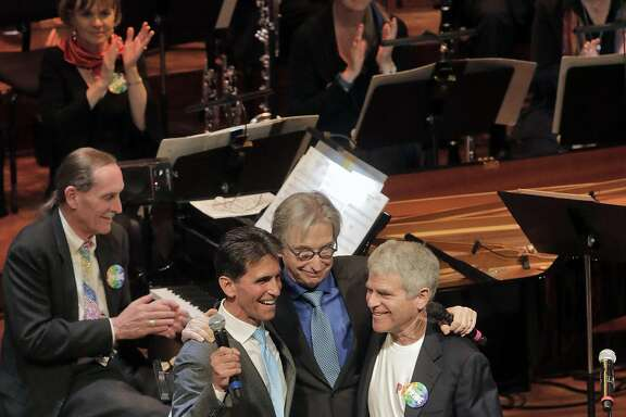 Mark Leno, Michael Tilson Thomas and Joshua Robison on-stage at Symphony Pride