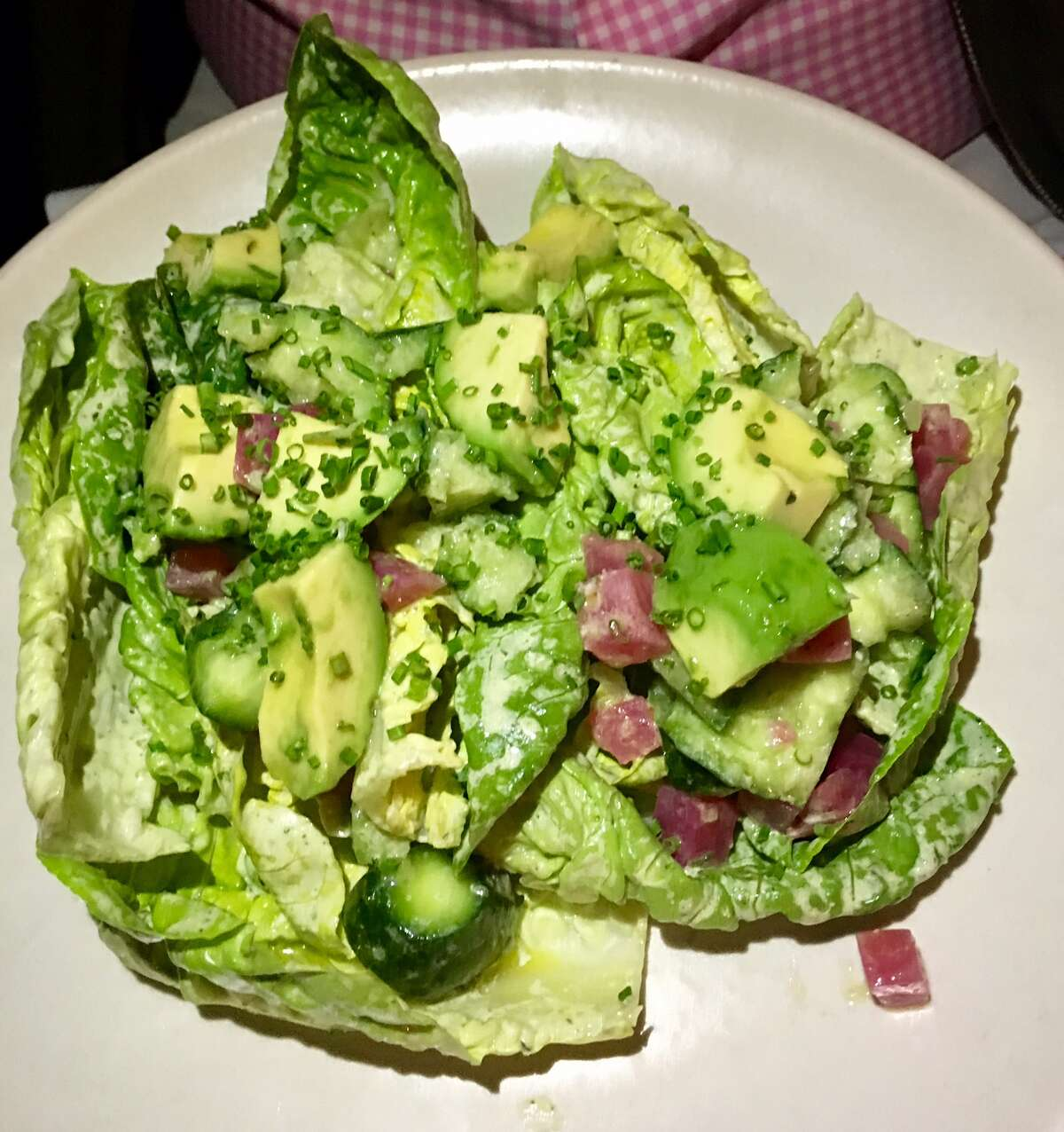 Little Gems with avocado, cucumber, and beets in a Green Goddess dressing ($14)