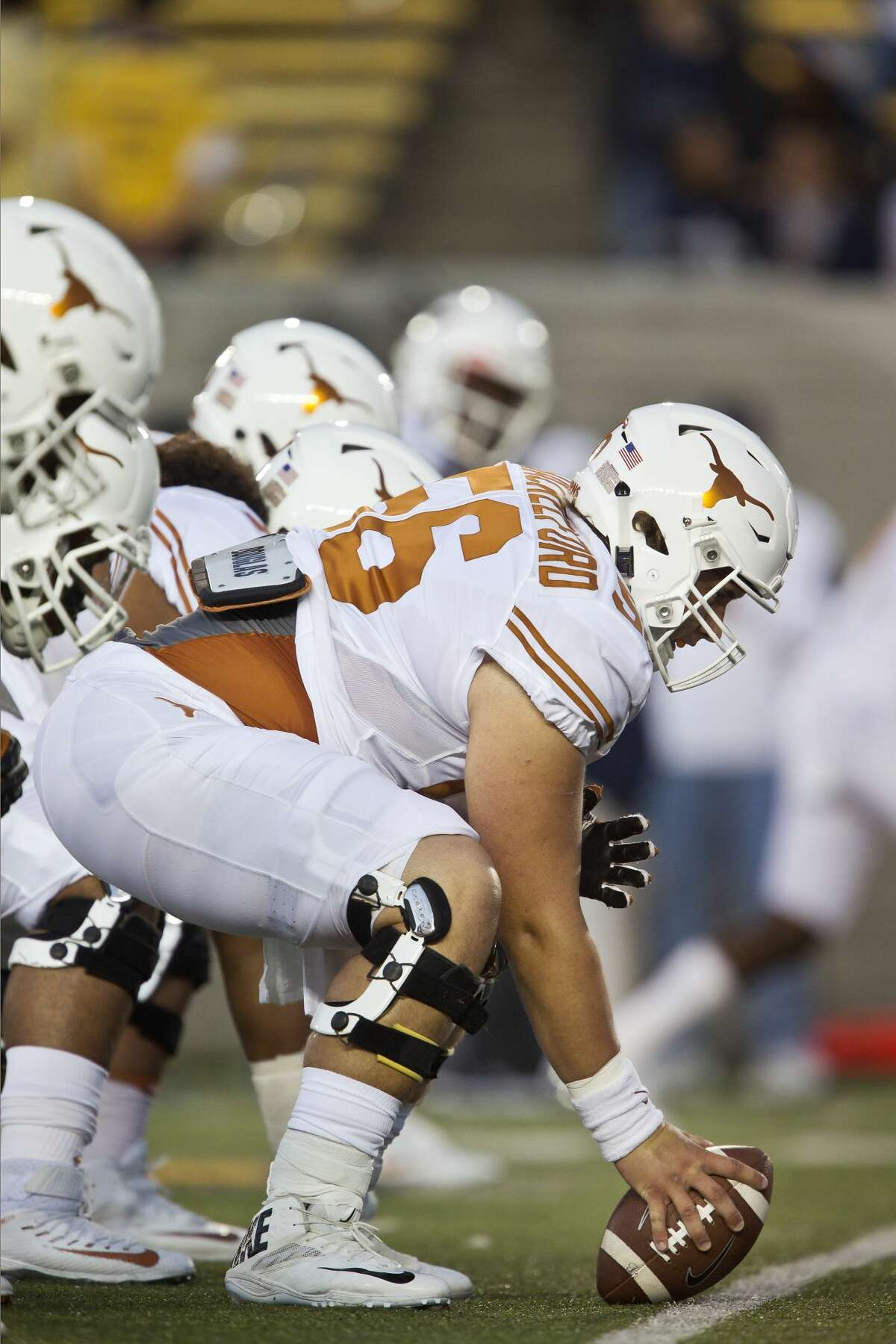 BERKELEY, CA - SEPTEMBER 17: Zach Shackelford #56 of the Texas Longhorns prepares to snap the ball before a game against the California Golden Bears against the Texas Longhorns on September 17, 2016 at California Memorial Stadium in Berkeley, California. Cal won 50-43. (Photo by Brian Bahr/Getty Images)