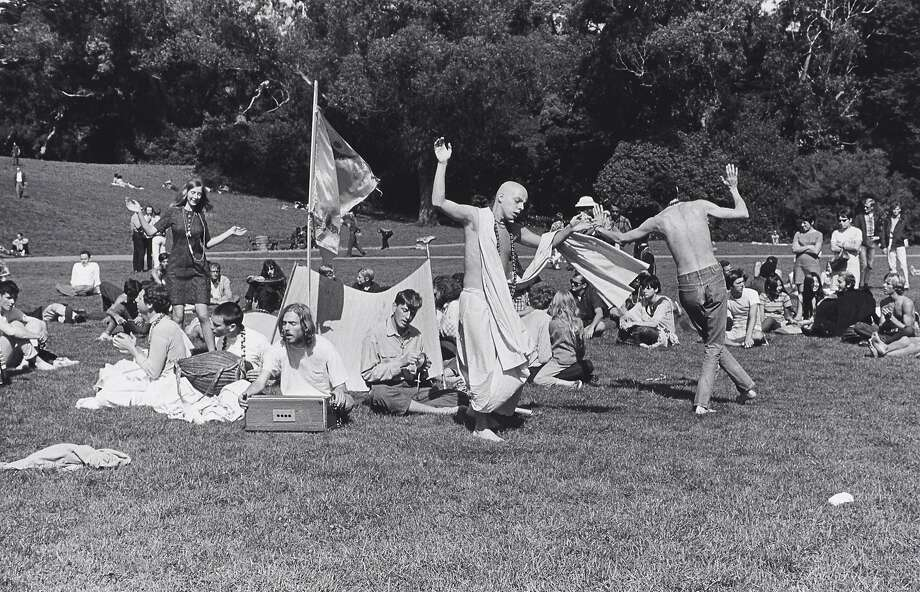 """Ruth-Marion Baruch, """"Hare Krishna Dance in Golden Gate Park, Haight Ashbury"""" (1967). Gelatin silver print. On view at de Young Museum, Summer of Love: Art, Fashion, and Rock & Roll, April 8 - Aug. 20, 2017  Image Courtesy of the Fine Arts Museums of San Francisco Photo: Ruth-Marion Baruch, Courtesy Of The Fine Arts Museums Of San Francisco"""