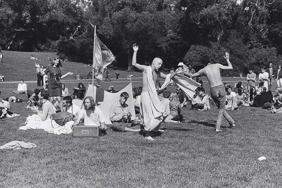 """Ruth-Marion Baruch, """"Hare Krishna Dance in Golden Gate Park, Haight Ashbury"""" (1967). Gelatin silver print. On view at de Young Museum, Summer of Love: Art, Fashion, and Rock & Roll, April 8 - Aug. 20, 2017  Image Courtesy of the Fine Arts Museums of San Francisco"""