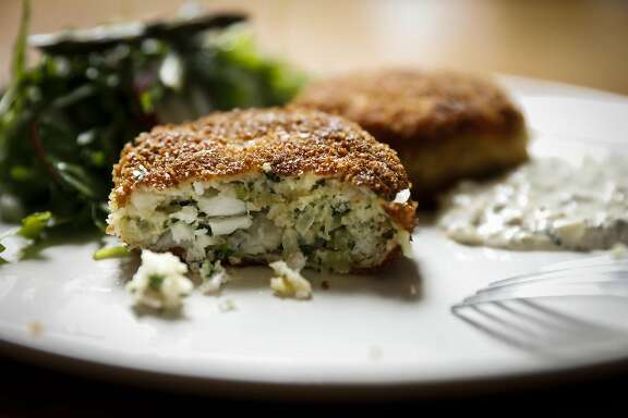 Jessica Battilana makes Halibut Cakes on Wednesday, April 5, 2017 in San Francisco, Calif.