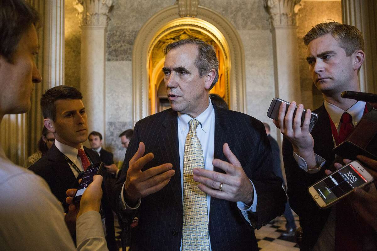WASHINGTON, D.C. - APRIL 05: Sen. Jeff Merkley (D-OR) talks to members of the press after speaking all night on the Senate floor in opposition to U.S. Supreme Court Nominee Neil Gorsuch on April 5, 2017 at The Capitol Building in Washington, D.C. (Photo by Zach Gibson/Getty Images)