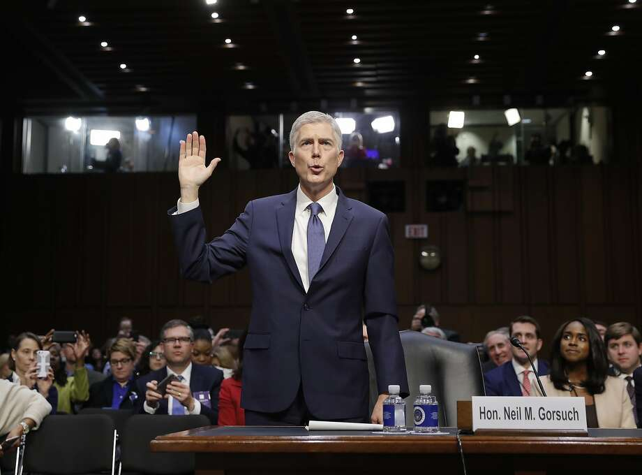 Supreme Court Justice nominee Neil Gorsuch is sworn-in on Capitol Hill in Washington, Monday, March 20, 2017, during his confirmation hearing before the Senate Judiciary Committee. (AP Photo/Pablo Martinez Monsivais) Photo: Pablo Martinez Monsivais, Associated Press