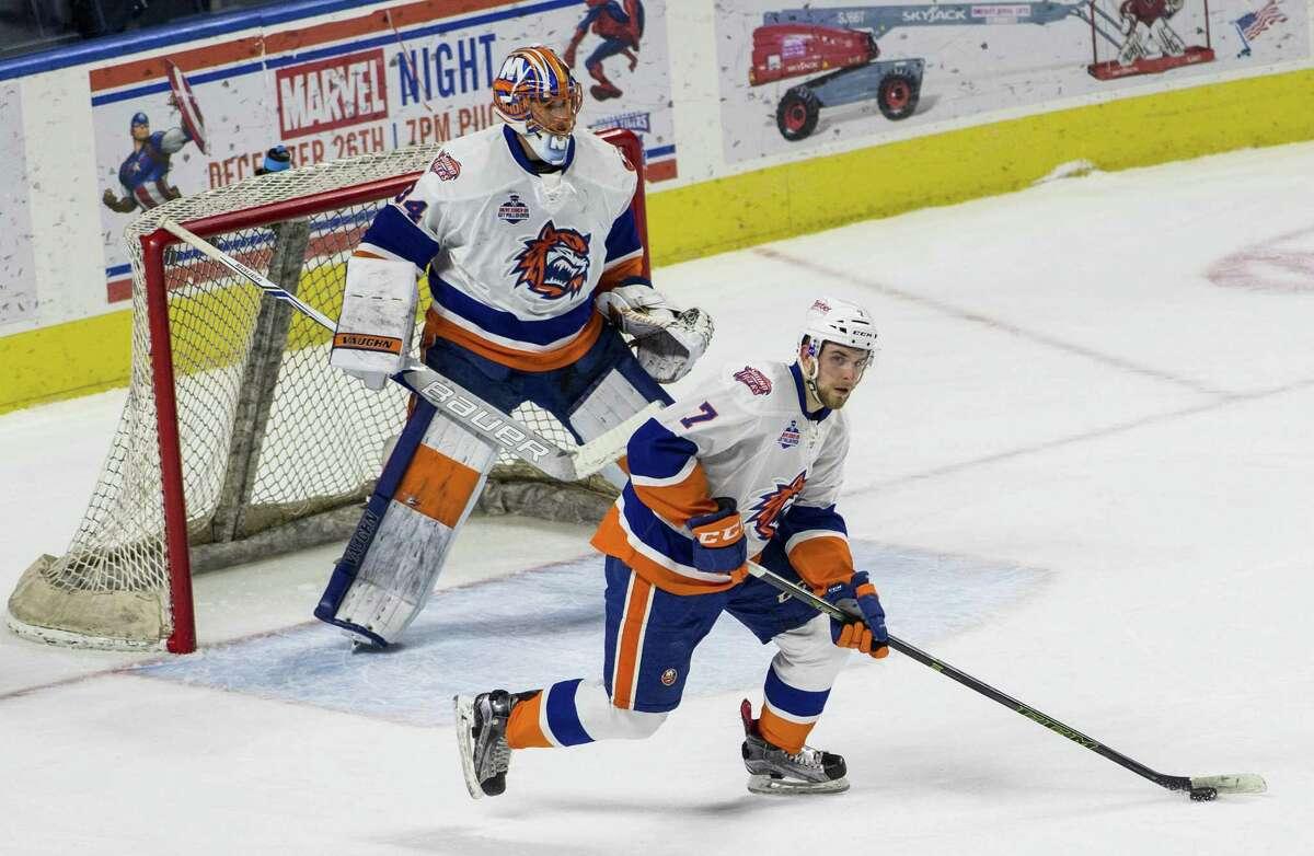 Sound Tiger rookie defenseman Devon Toews (7) was named to the AHL all-rookie team on Wednesday.
