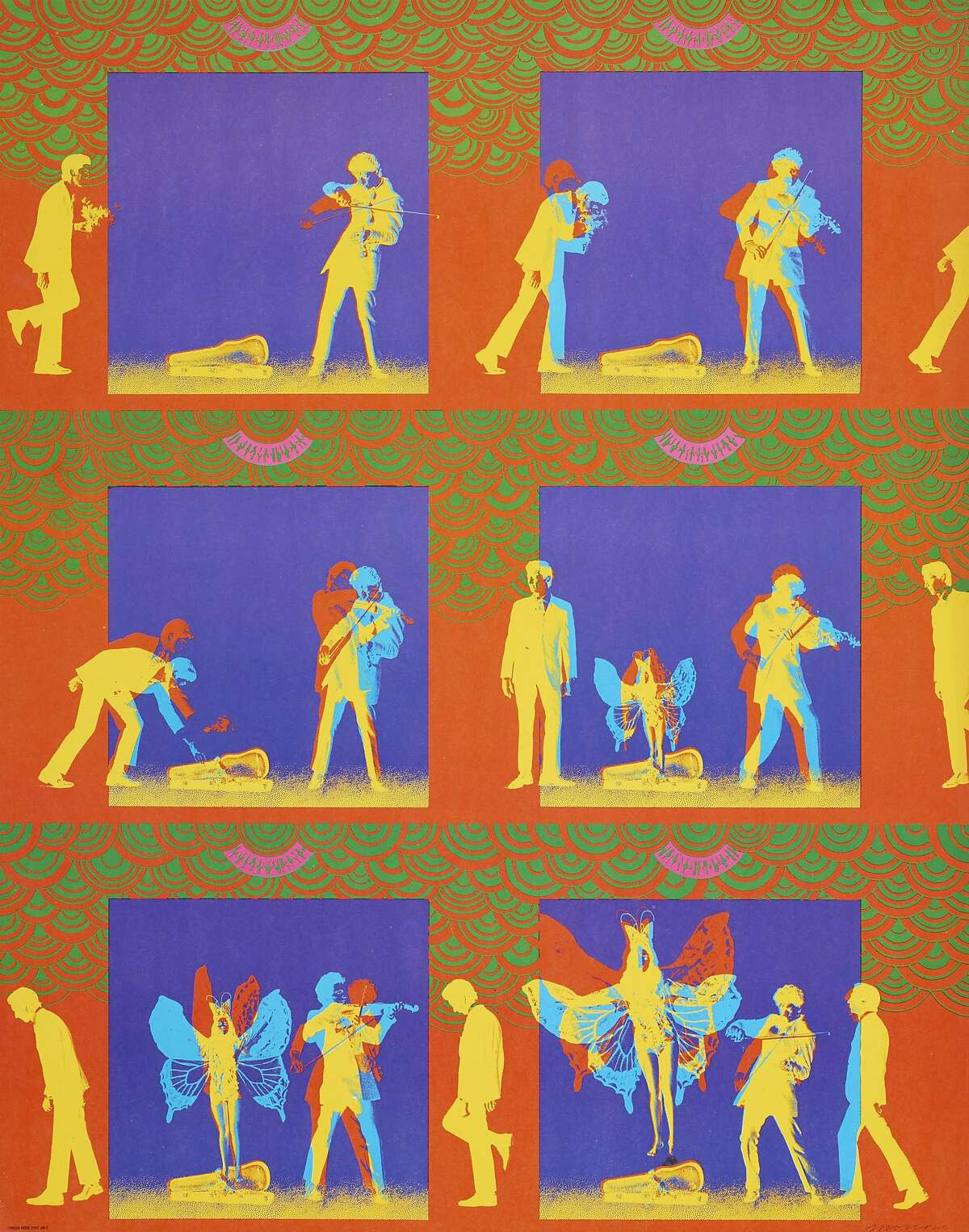 """Victor Moscoso, """"Pablo Ferro advertisement for film"""" (1967). Color offset lithograph poster. � Victor Moscoso On view at de Young Museum, Summer of Love: Art, Fashion, and Rock & Roll, April 8 - Aug. 20, 2017 Image Courtesy of the Fine Arts Museums of San Francisco"""