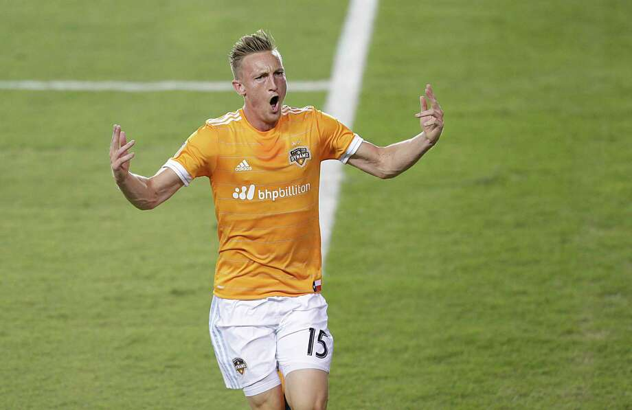 Houston Dynamo defender Dylan Remick (15) celebrates his goal against the New York Red Bulls in the first half on April 1, 2017 at BBVA Stadium in Houston, TX. (Photo: Thomas B. Shea/For the Chronicle) Photo: Thomas B. Shea, Freelance / © 2017Thomas B. Shea